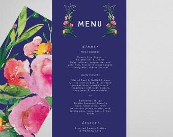 Blue Menu . Aster . Printable Menu, Printable Wedding Reception, Party Menu, DIY Printable, Print at Home Menu