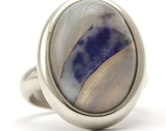 Agate Ring, 925 Sterling Silver, Unique only 1 piece available! SIZE 5 (inner diameter 15.67mm), color navy blue, weight 8.6g, #44722