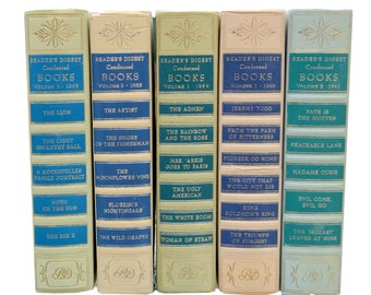 5 VINTAGE 1950's 1960's Creme Blue Green Reader's Digest Condensed Books Decorative Hardcover  Centerpiece  home decor Interior design props