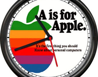 Apple Computer Retro Vintage Service Repair Dealer Poster Sign Wall Clock