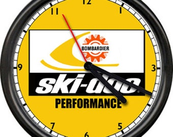Ski Doo Dealer Yellow Performance Authorized Sales Service Snowmobile Racing Sign Wall Clock