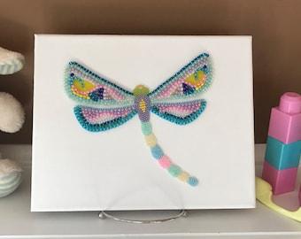 Beaded Dragonfly, Dragonfly, Beaded Art, Girl's Room Wall Art, Nursery Decor, Pastel Dragonfly, Liberty Way Designs