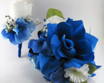 Royal Blue White Wedding Prom Rose Flower Wrist Corsage Boutonniere Set