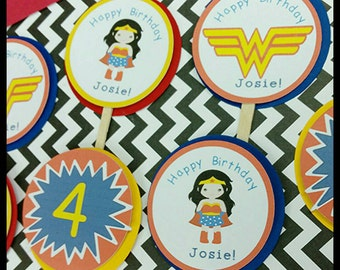12 Wonderwoman Inspired Cupcake  Toppers