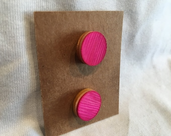 Recycled Skateboard Wooden Stud Earrings