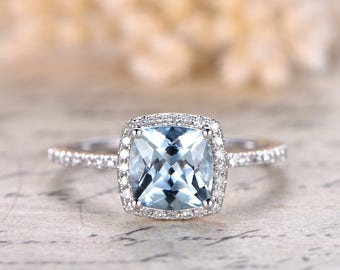 7mm Cushion Cut Aquamarine Ring Aquamarine Halo Ring,Aquamarine Engagement Ring Solid 14k White Gold Ball Set