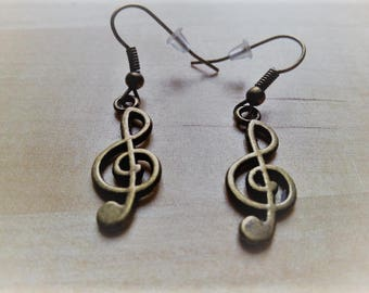 Earrings and pendant viel clef silver or bronze
