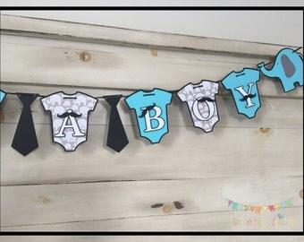 Baby Shower Banner, Baby Boy Shower Decorations, Mustache Baby Shower, Elephant Baby Shower, Elelphant Baby Shower Decorations, Its A Boy