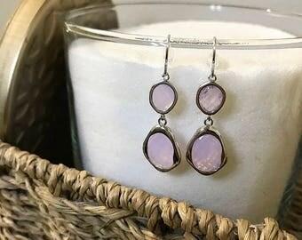 Violet Opal Drop Earrings