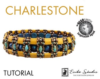 CHARLESTONE bracelet - instant download for the pdf instructions. Bracelet with Miyuki Tila beads, Tipp beads, True2, Superduo 2-hole beads.