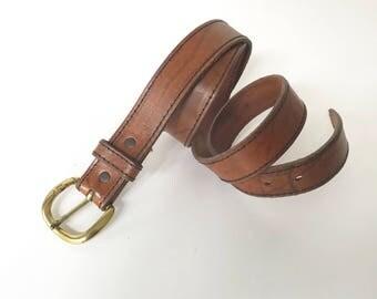 Vintage Men's Size 38 Brown Distressed Leather Belt