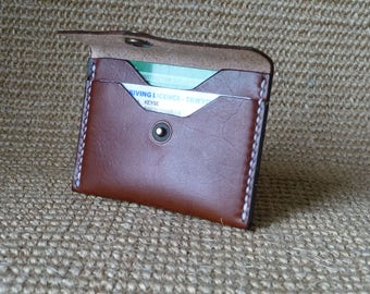 SCKLeather Handmade Veg Tan Calf Leather Two Card Wallet
