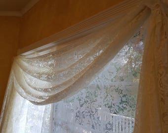 Custom made lace curtain/valance with fringe trim