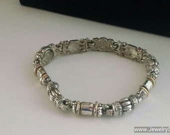 FREE SHIPPING!!  Unique Silver Royal Link Bracelet with Hidden Magnetic Clasp