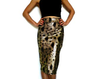 Rusty Gold on Black Velvet Pencil Skirt