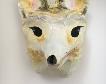 Paper mache aninal head Prairie Fox / white Fox