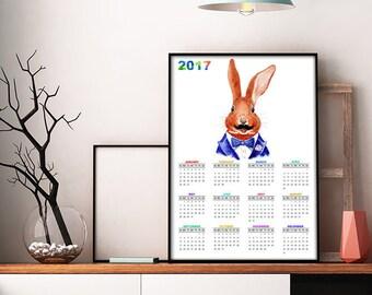 2017 Calendar, Printable Wall Calendar, Alice in Wonderland Calendar, Children Calendar 2017, Rabbit Calendar, Animal Calendar (W023)
