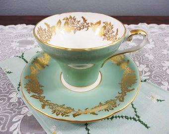 Aynsley Sage Green Corset English Bone China Teacup and Saucer - Gold Floral Filigree