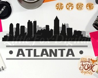 ATLANTA, USA Skyline America City East Coast Silhouette Clipart Set Digital Illustration Scrapbook
