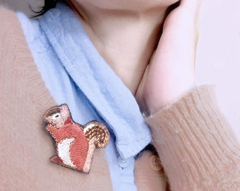 CLEARANCE SALE! Squirrel, embroidered jewelry brooch