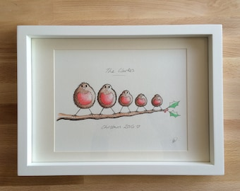Family Robins. Adorable hand drawn, painted and personalised robins. Perfect for New baby gift, Birthday, Christening and Christmas