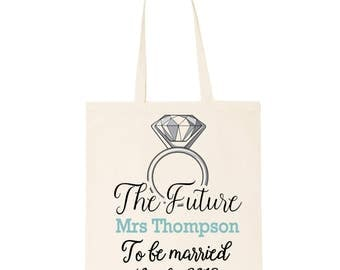 The future Mrs  cotton tote bag. Personalised bride to be shopper tote bag gift for your Hen Party| Bachelorette weekend. Diamond ring print