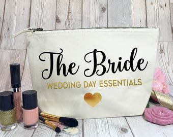Personalised make up bag for The Bride. Cotton make up bag for the wedding day essentials. Bride to be gift. Hen party | Engagement gift.