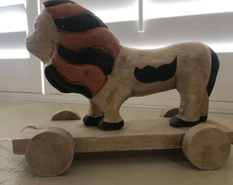 Vintage Wooden Lion Pull Toy