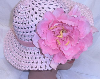 Pink Girls Easter Hat Easter bonnet Spring Hat Teaparty Hat Pink Tissue Flower