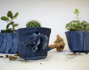 Blue conical small cute denim planter,recycled jeans planter,upcycled jeans flower pot ,denim decoration,succulent planter,cacti planter