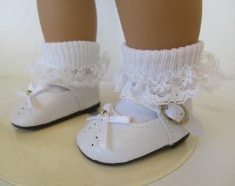 """50's Mary Janes Shoes and Lacey Anklet Socks to fit your 18"""" American Girl Doll"""