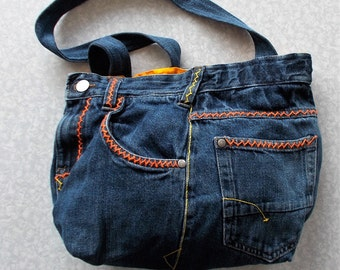 Dynamic Autumn Colors Jean Handbag with Yellow and Orange Hand Stitched Decoration