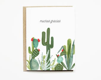Cactus Thank You Card Set | Thank You Stationery Set | Thank You Note Card Set | Muchas Gracias Thank You Card | Spanish Thank You Card