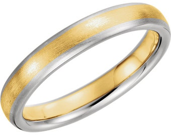 Two Tone 14K Yellow & White Gold Wedding Band 4mm Wide Comfort Fit Men's Ring in Sizes 8 to 16 Polished Finish