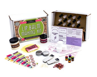 DIY Lip Balm Kit, (73-Piece Set) Homemade, with FILLING TRAY  | Includes Tubes, Beeswax Pouch, Essential Oils, Labels, Stir Sticks & More