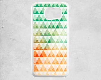 Samsung Note 5 case geometric - Available for Samsung S6, samsung s6 edge, samsung S7 - samsung galaxy case - green orange white triangles