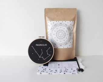 Aquarius Stitching Pack With Supplies & Easy to Follow Instructions Modern Embroidery Personal Design Zodiac Set Handmade Gift Constellation