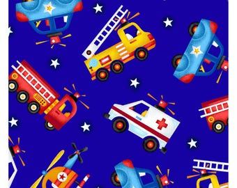 Crib Sheet - Standard Mini Bassinet Sizes - Search & Rescue Heroes Vehicles Police Car Ambulance Fire Engine Truck Helicopter - Blue Stars
