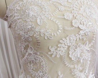 White Lace Fabric By The Yard Flower Embroidery Lace Accessories Bridal Lace Wedding Lace Dress Fabric Clothing Fabric Gown Fabric-LIANGPIAN