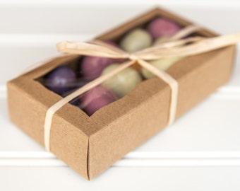 "100 Kraft Bakery Boxes / 4 5/16"" x 2 1/4"" x 1 / Macaron Boxes / Cookie Boxes / Candy Boxes / Favor Boxes / Wedding Favors"
