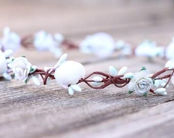 Beach Flower Crown Hair Wreath Dusty Rose Headpiece Sea Shell Flower Crown Hair Wreath Floral Halo Girls Flower Crown Hair Wreath Rose Crown