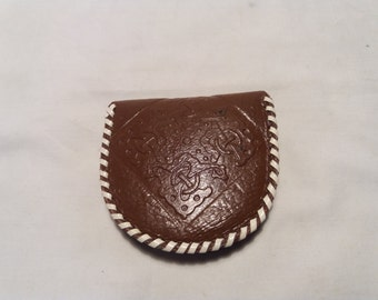 Vintage Handmade Dark Brown Leather Purse for Coins - NEW