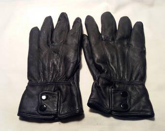 Vintage Black Leather Gloves - NEW