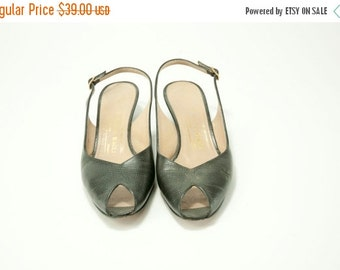 EVERYTHING ON SALE Bruno Magli ~ Black Lizard Skin Print Sling Back Peep-Toe Pumps ~ Size 7 Aa