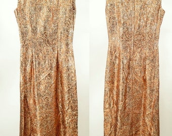 EVERYTHING ON SALE 70s ~ Metallic Boat Neck Full-Length Gown