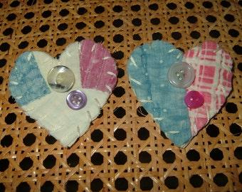 Vintage Antique Quilt Heart Pins~Set Of 2!   Set #5