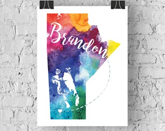Manitoba Watercolour Map -  Brandon Hand Lettering - Giclée Print of Original Art
