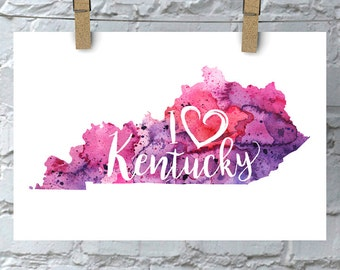 I Heart Kentucky Map Art Print, I Love Kentucky Watercolor Home Decor Map Painting, KY Giclee US State Art, Housewarming Gift, Moving Gift