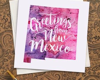 New Mexico Watercolor Map Greeting Card, Greetings from New Mexico Hand Lettered Text, Gift or Postcard, Giclée Print, Map Art, 5 Colors