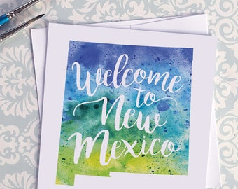 New Mexico Watercolor Map Greeting Card, Welcome to New Mexico Hand Lettered Text, Gift or Postcard, Giclée Print, Map Art, 5 Colors